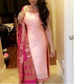 The latest dress trends for the latest new fashion trends, outfit ideas, celebrity style, designer news and runway looks. Punjabi Suits Designer Boutique, Indian Designer Suits, Indian Suits, Indian Wear, Boutique Suits, Indian Attire, Salwar Designs, Kurti Designs Party Wear, Blouse Designs