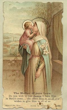 Mary and Jesus//Religious Art Catholic Prayers, Catholic Art, Religious Art, Catholic Saints, Roman Catholic, Immaculée Conception, Image Jesus, Vintage Holy Cards, Religious Pictures