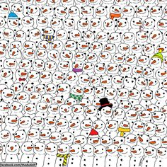 Hungarian artist Dudolf has shared a puzzle on Facebook that challenges people to find a panda in a crowd of snowmen.