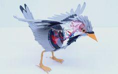 Des petits bouts de papier et hop... un bel oiseau vu du dehors ET du dedans ! (Diana Beltran Herrera)