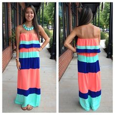 Just in! Our Karlie, 'Popsicle Stand Maxi,' $48 is available in sizes Small-large! | Teardrop Necklace, $25 | Call the store to order! 803.548.0559 or 803.322.2133