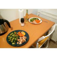 Broccoli + carrots + salmon. All baked in butter. + lemon