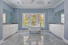 JUST SOLD: 934 Mill Hill Terrace: Marble master bathroom with clawfoot tub  source: walshandpartners.com