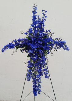 Cross Funeral Spray || Blue Delphinium Funeral Spray || San Diego Flowers || Four Seasons Flowers || Flower Delivery