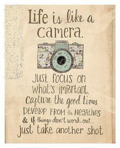Birthday Quotes : This 'Life is Like a Camera' Wall Art is perfect! - The Love Quotes Great Quotes, Me Quotes, Motivational Quotes, Inspirational Quotes, Wall Quotes, Wisdom Quotes, The Words, Positive Thoughts, Positive Quotes