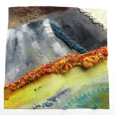 a hint of autumn in the air - painting and stitch on linen - textiles - Carolyn Saxby