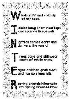 It's Winter! Let's Write a SNOW Poem!