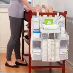 Baby Nursery Organizer, Diaper Organizer, Diaper Caddy, Storage Hanging on Crib Diaper Organization, Baby Nursery Organization, Nursery Storage, Baby Storage, Baby Bedroom, Nursery Room, Nursery Ideas, Everything Baby, Baby Needs