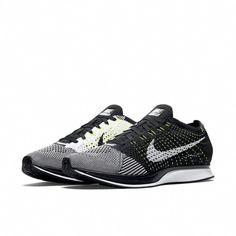 31c28814b4b33 Nike Flyknit Racer Running Shoes Mens 13 Black White Volt 526628 011  Nike   RunningShoes