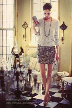 holiday outfit? thinking tights and black sweater but def. sequin skirt!!!
