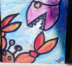 Pintura med- 50cm x 50 cm - titulo- peixe X siri.