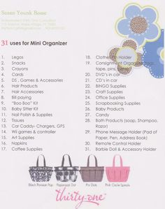 31 Uses for our Mini Organizer  www.MyThirtyOne.com/RebekahLewis