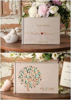 Rustic country real wood laser cut wedding guest books