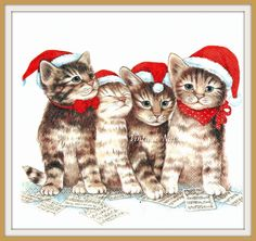 4 x Single Paper Ply/Decoupage/Craft/Christmas/Four Singing Cats Christmas Animals, Christmas Cats, Christmas Themes, Cat Cross Stitches, Paper Napkins For Decoupage, Baby Animals Pictures, Christmas Paintings, Cute Cats And Kittens, Vintage Christmas Cards