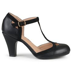 Step into a classic look with vintage inspired wide-width pumps by Journee Collection. Premium faux leather uppers highlight cut-out embellishment and a contrasting t-strap that connects to a buckled ankle strap. Black Strap Heels, Black Pumps, Ankle Strap, Dream Shoes, New Shoes, Mary Jane Pumps, Womens High Heels, Pumps Heels, Character Shoes