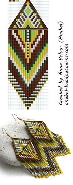 Схема крупных серег из бисера - Large Earrings Pattern - Peyote / Brick Stitch