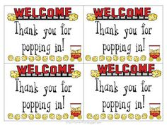 Thanks for Popping In - cards to put out with popcorn at open house or back to school night