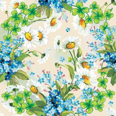 Blue Spring Flowers Vector Background - http://www.dawnbrushes.com/blue-spring-flowers-vector-background/