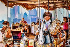 """NEW YORK #83"" By Socrates Rizquez 2020 - Enamels on aluminium painting. Pintado con esmaltes sobre aluminio. 123 x 83 cm. Thanks to my eyes on NYC Eduardo Fermín José. Impressionist Art, Impressionism, Janes Carousel, Original Paintings, Original Art, Enamel Paint, Popular Culture, Figurative Art, Nyc"