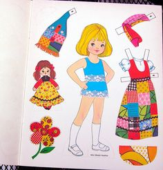 Vintage Saalfield 3403A Patchwork Paper Dolls Book 1972 Uncut Unused Granny Mod | eBay