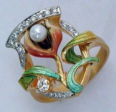 Masriera Pearl and Diamond Flower Ring