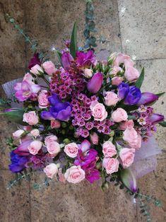 #purple #pink #flowerbouquet #buchetedeflori Purple, Pink, Floral Wreath, Wreaths, Decor, Beauty, Floral Crown, Decoration, Door Wreaths
