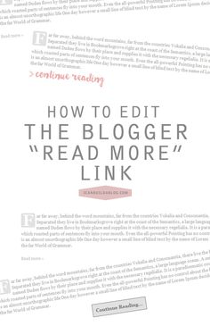 How To Edit the Blogger Read More Link