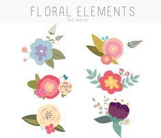 Clipart - dessinés à la main fleur fleurs ClipArt de fleurs, bouquets floraux, éléments floraux - Digital Graphics de fleur.