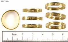 Gold ring 15th cent. 2004/T385a. Slightly distorted but measures about 18mm in diameter. The height of the hoop is 4mm. It has two inscriptions; one on its external face, which reads as follows: mon cuer entier ('my whole heart') and one on the interior: mon est desr ('is my desire') The latter inscription is puzzling because of the confusing word order. 'Est mon desr' would be more logical, assuming 'desr' to be an abbreviation of 'desir'…