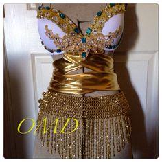 Egyptian goddess rave bra/Halloween costume by OriannaMdesigns