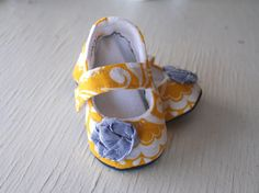 maryjane baby girl shoes toddler newborn velcro strap booties Yellow White Navy Flower slippers SWAG shower gift
