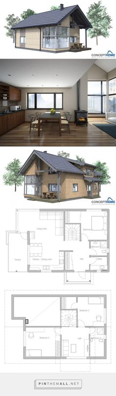 Small house plan CH42 house plan to tiny lot. House https://www.concepthome.com/house-plans/small-house-ch42-house-plan/32/