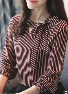 Autumn Spring Women Tie Collar Striped Long Sleeve Blouses - New In Tops Women Ties, Blouses For Women, Blouse Styles, Blouse Designs, Fashion For Petite Women, Womens Fashion, Latest Fashion, Fashion Top, Cheap Fashion