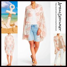 "Cape Kimono Cardigan S, M, L Wrap Scarf Cardi NEW WITH TAGS RETAIL PRICE: $68 L  Boho Cape Kimono Cardigan  * Relaxed & Oversized Wrap Silhouette  * Beautiful floral print & frayed fringe trim  * Boho'festival feel';Incredibly lightweight for most seasons  * Cocoon like loose knit style w/long wide kimono sleeves, long cardigan style  * Oversized fit; About 41.5"" long   Fabric:100% Viscose Color: Rose & Ivory Combo Item:9350  No Trades ✅Offers Considered*/Bundle Discounts✅ *Please use the…"