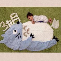 3ヶ月記念♪#6月生まれ #寝相アート #おひるねアート #トトロ