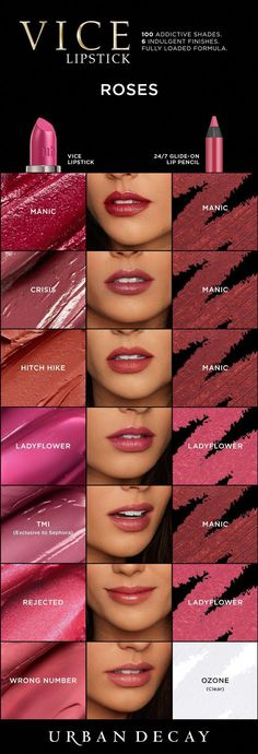 Rose overload! Grab your favorite shade of Vice Lipstick now at Urban Decay. #LipstickIsMyVice #LipstickTricks Rose Lipstick, Lipstick Swatches, Makeup Swatches, Lipstick Colors, Lipstick Tricks, Liquid Lipstick, Burgundy Lipstick, Black Lipstick, Lipstick Dupes