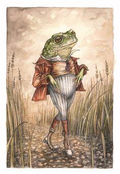 Frog Discover Original Artwork Mr Toad by Adam Oehlers Frog Illustration, Frog Art, Arte Sketchbook, Cute Frogs, Fairytale Art, Tier Fotos, Weird Art, Aesthetic Art, Oeuvre D'art