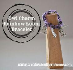 Owl Charm Rainbow Loom Bracelet tutorial | Creative Southern Home