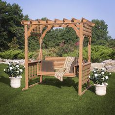 This outdoor Cedar Pergola Swing provides a distinctive focal point for your backyard. A beautiful all-natural cedar swing to relax and enjoy the outdoors.