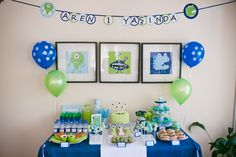 For my son's first birthday, I created a monster party in blue, green and white.