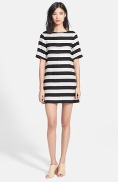 Alice + Olivia 'Mandy' Stripe Tweed Shift Dress available at #Nordstrom