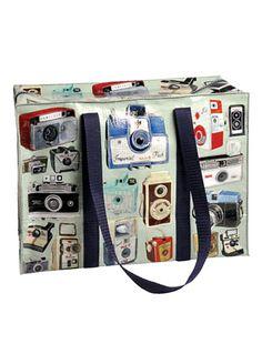 Vintage Camera Print Flight Bag at PLASTICLAND