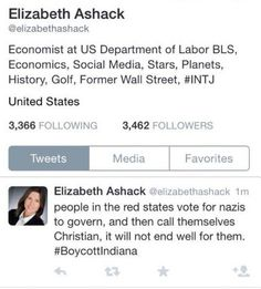 "Federal Government Economist Calls Indiana Christians 'Nazis' - SHE'S A FEDERAL EMPLOYEE -- Since 1998, Elizabeth Ashack has worked as an economist for the US Department of Labor. Sunday, using her Twitter account, this government employee wrote ""people in the red states vote for nazis to govern, and then call themselves Christian."" She quickly deleted the Tweet, which was directed at the new religious freed law passed in Indiana."