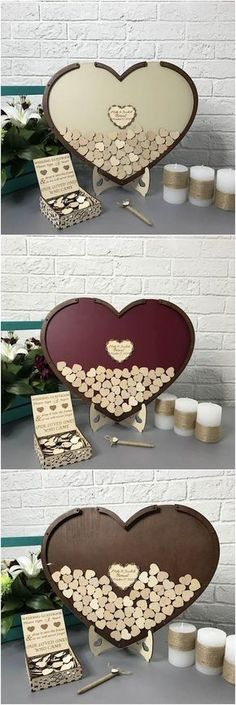 Hearts within a drop box heart to have your guests write their wishes. Isn't it adorable? #guestbook #wedding #alternative #shadowbox