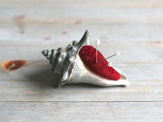 Antique Pin Cushion Shell Red Velvet Silver Patina by ivorybird