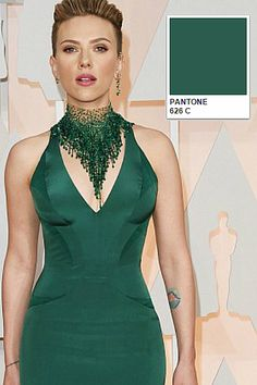 Scarlett Johansson (Pantone 626 C) look beautiful in an emerald shade of green at the #Oscars2015 which very nicely suggests wealth in all its forms, including, would you believe, creative ideas. See more at: http://www.pixel8ltd.com/blog/2015/02/pantone-colours-oscars-dresses-2015#sthash.OSeDFpNT.dpuf