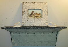 2 FT Shabby Salvaged Tin Ceiling SHELF/Mantle by RecycledRelics, $95.00