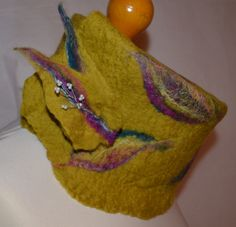 Yellow green merino wool felted scarf with felt brooch. Handmade. by jaracedesigns on Etsy