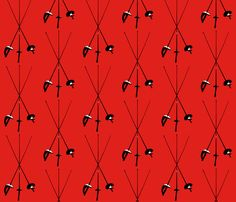Foil, Epee, Sabre, Red fabric by jelliclekat on Spoonflower - custom fabric