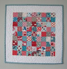 This is an amazing, quick, and easy technique for postage stamp style quilts!  I'll never sew those tiny squares individually again!